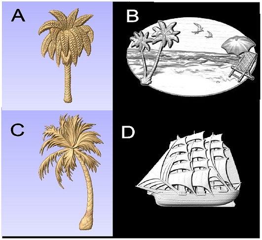 L22050 - Carved 3-D Wood Appliques (Palm Trees, Beach Scene, Clipper Ship)