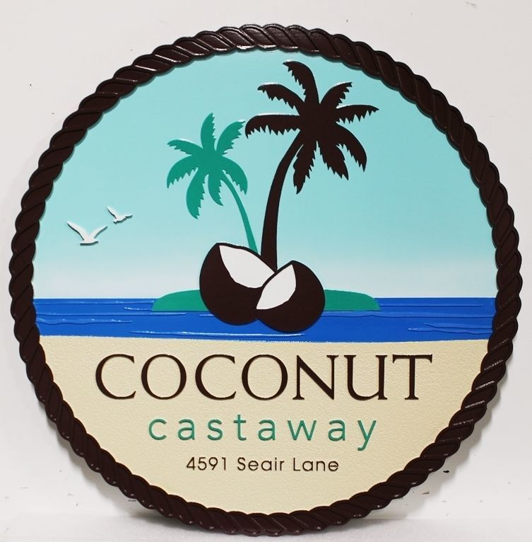 "L21132 - Carved and Sandblasted 2.5-D Multi-level Relief  Beach House Name and Address Sign ""Coconut Castaway"", with Island, Coconut and Palm Tree as Artwork"