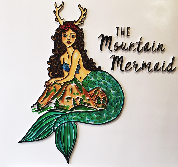 "M22599 - Carved HDU Sign""The Mountain Mermaid"", 2.5-D  Outline Relief"
