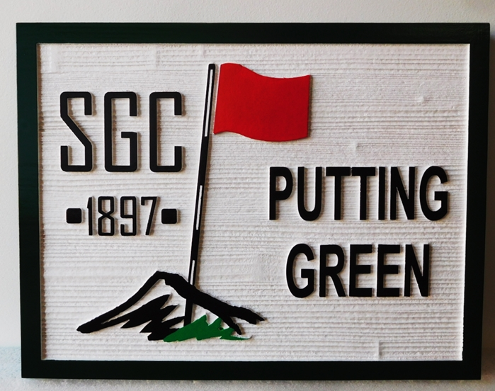 "E14235 - Carved Cedar Wood  Sign ""SGC Putting Green"" ."