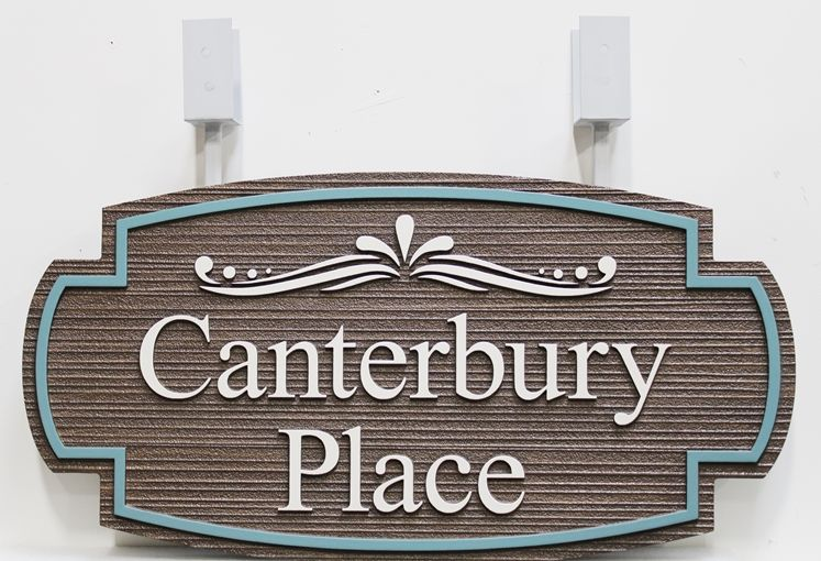 "I18180 -  Carved and Sandblasted High-Density-Urethane (HDU)   Sign  for  ""Canterbury Place"""