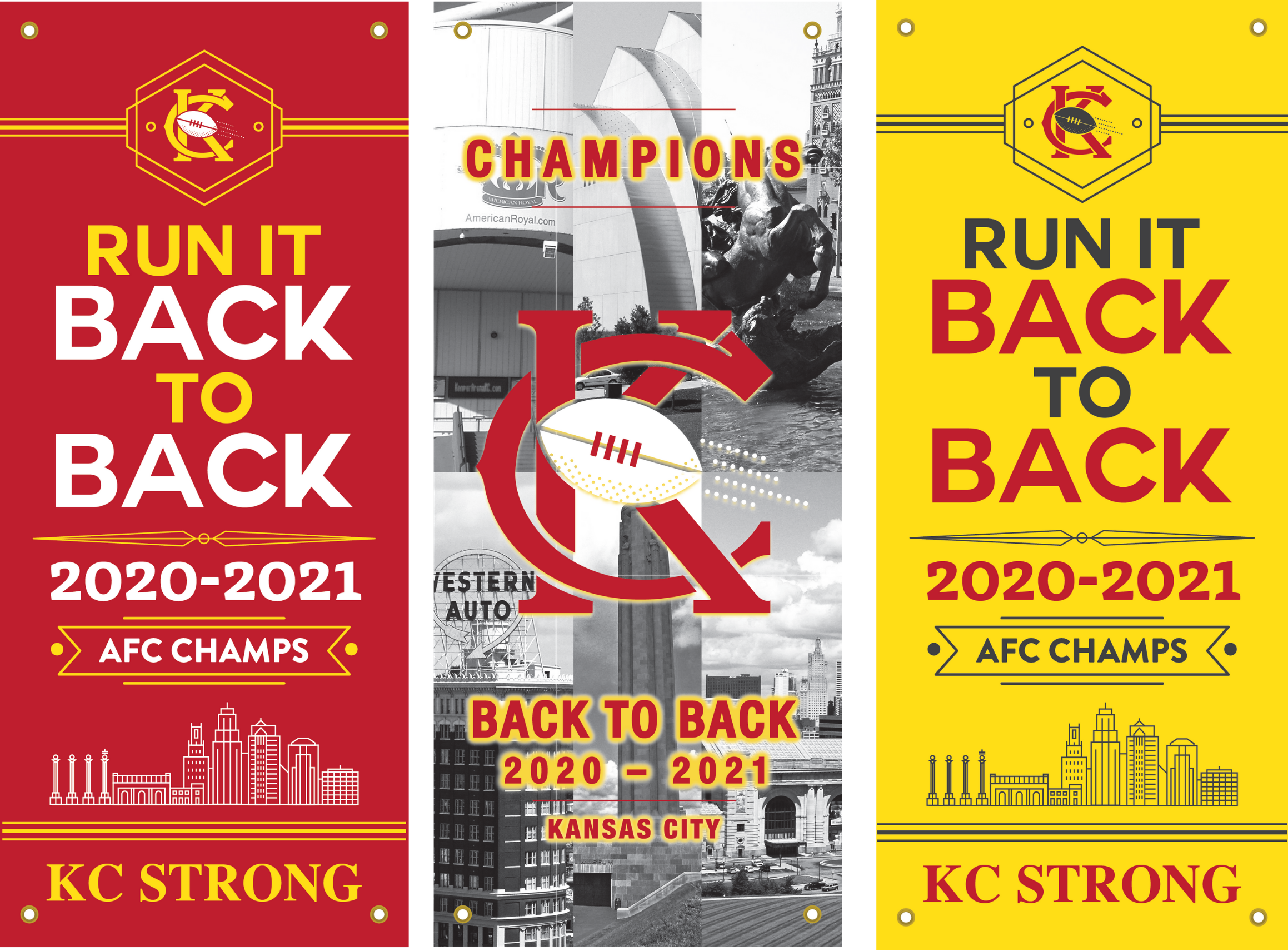 """All 3 """"BACK TO BACK CHAMPION"""" Banners"""