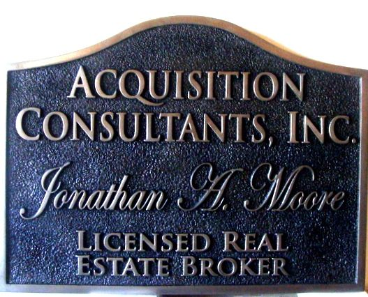 C12312 - Carved and Sandblasted HDU  Real Estate Sign with Raised Bronze Text