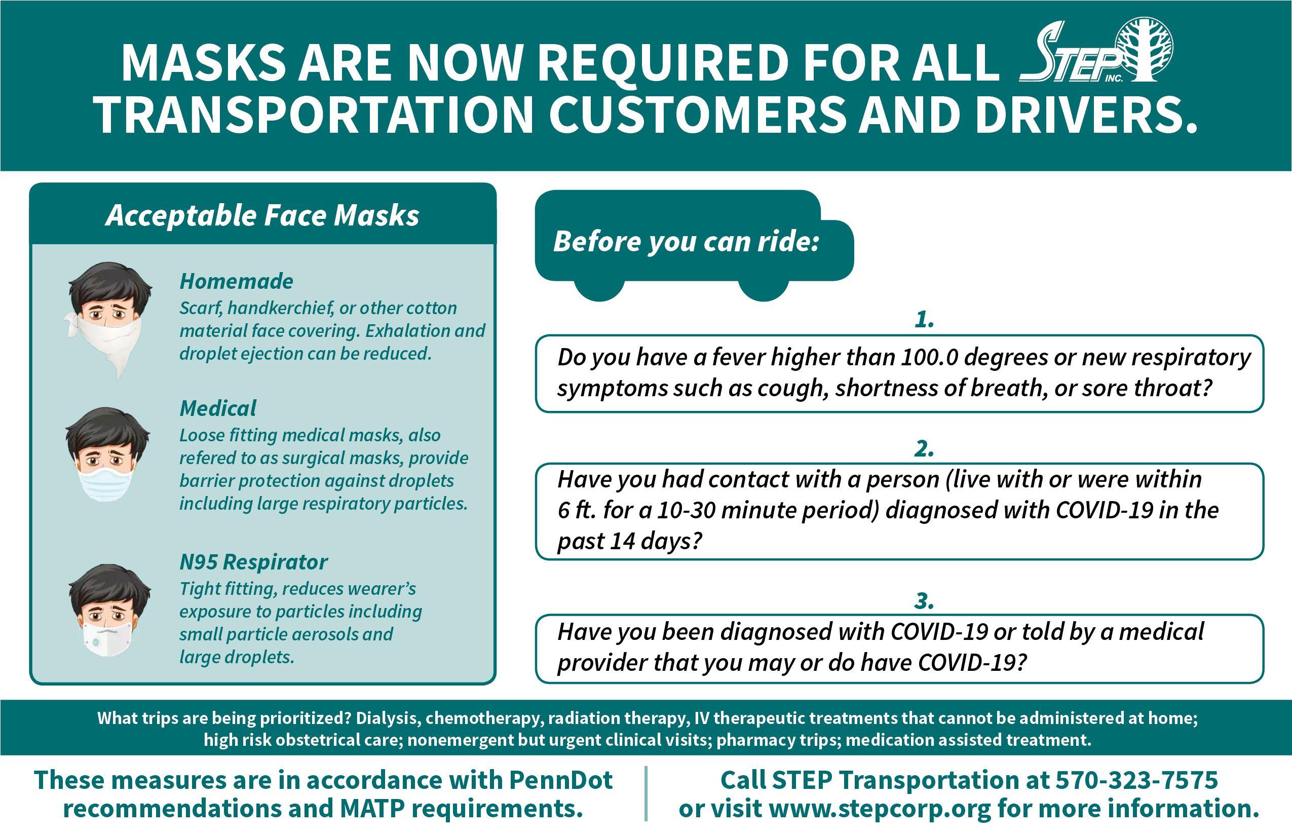 STEP Transportation Following PennDOT, MATP Guidance for Riders
