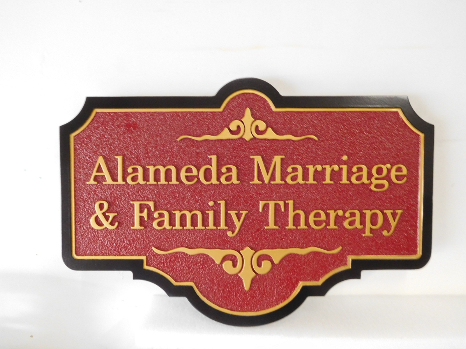 B11251 - Carved HDU Plaque for Marriage and Family Therapy Office.