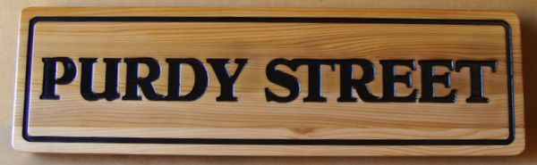 H17056 - Engraved Cedar Wood Street Name Sign for Purdy Street