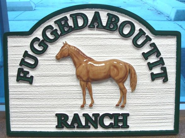O24206 - Woodgrain  Ranch Sign with Carved, Painted 3D Standing Horse