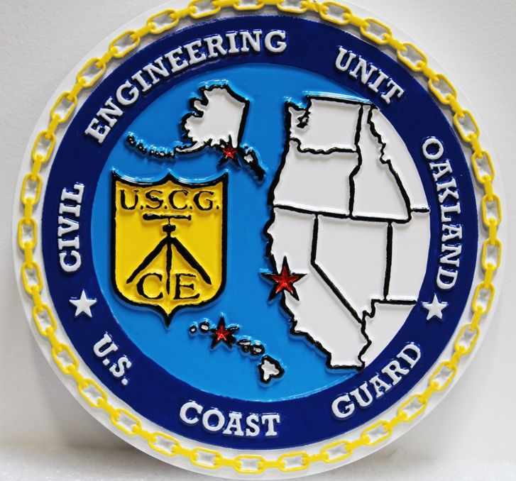 NP-2286 - Carved Plaque of theSeal of  US Coast Guard Civil Engineering Unit , Oakland, 2.5-D Artist-Painted