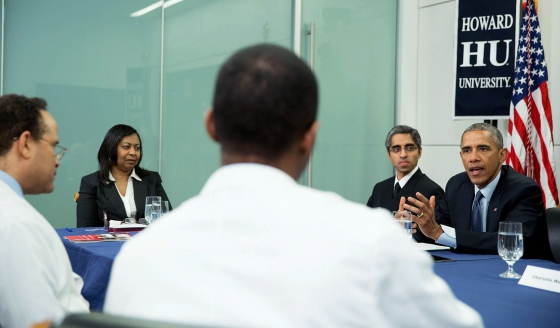 PRESIDENT OBAMA VISITS HUCM; DISCUSSES THE IMPACT OF CLIMATE CHANGE ON PUBLIC HEALTH