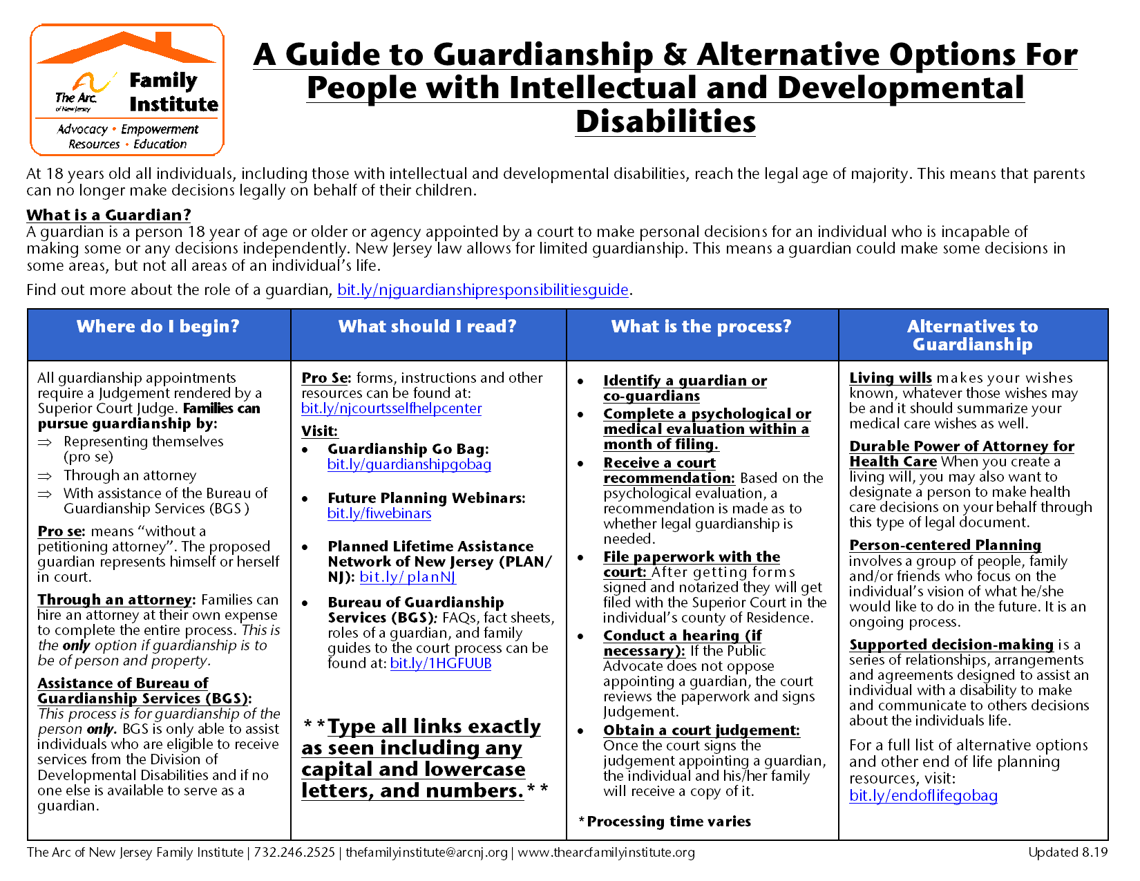 A Guide to Guardianship & Alternative Options For  People with Intellectual and Developmental  Disabilities