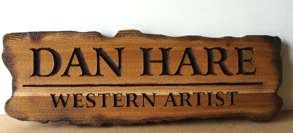 SA28029 - Antique-Look Stained Wood Sign for Artist and Artist's Studio