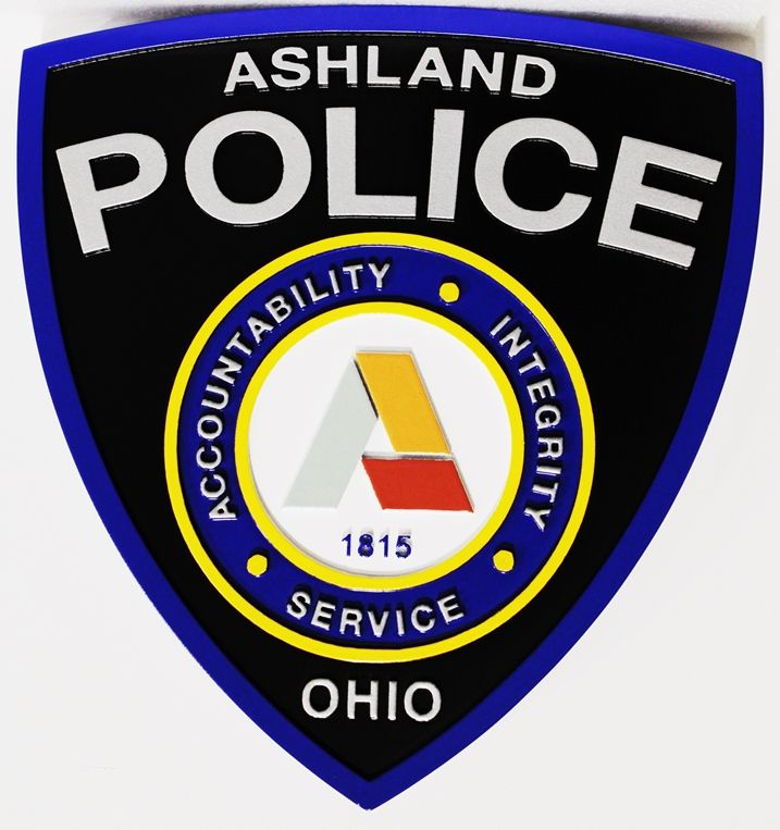 PP-2395 - Carved Plaque of the Shoulder Patch of the Police Department of  Ashland, Ohio, 2.5-D Artist-Painted