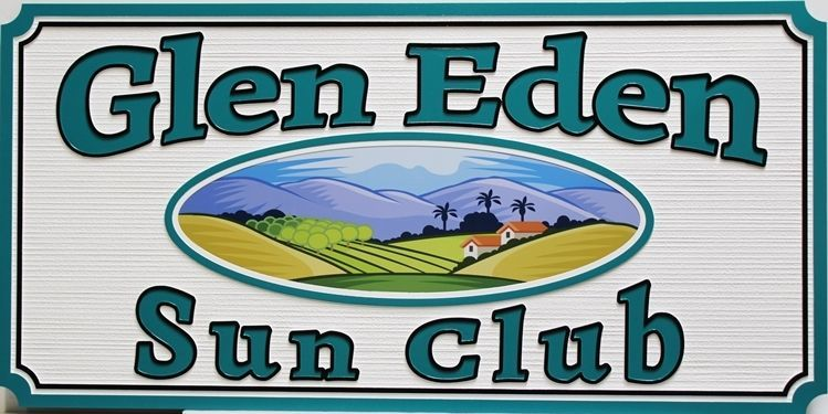"M22003 -  Carved and Sandblasted 2.5-D HDU Property Name  Sign ""Glen Ellen Sun Club"", with a Pastoral Scene of  Mountains as Artwork"