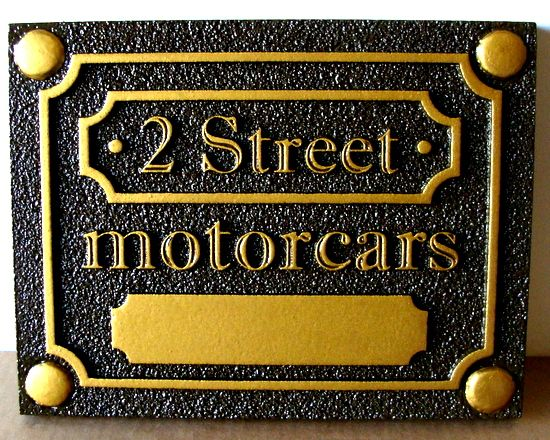 """SA2778 -  HDU Sign for """" 2 Street Motorcars"""" Company, with Carved  Metallic Gold Text"""