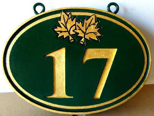 I18853 - Engraved Address Number Sign with Gold-Leaf Gilding