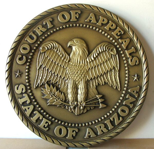 GP-1020 - Carved Plaque of the  Seal of the Court of Appeals, State of Arizona, Brass Plated