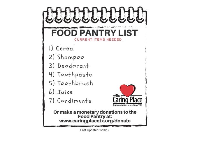 Food Pantry Needs