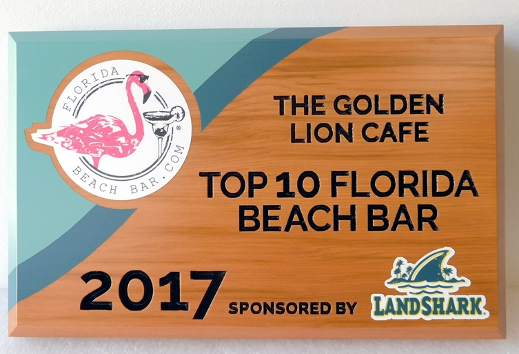 RB27268 -  Carved Cedar Wood Plaque is for a  Florida Beach Bar Award, with Flamingo as Artwork.