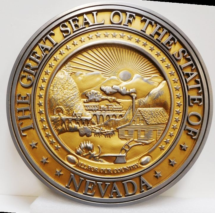W32314 - Carved 3-D Aluminum-plated Plaque of the Great Seal of the State of Nevada