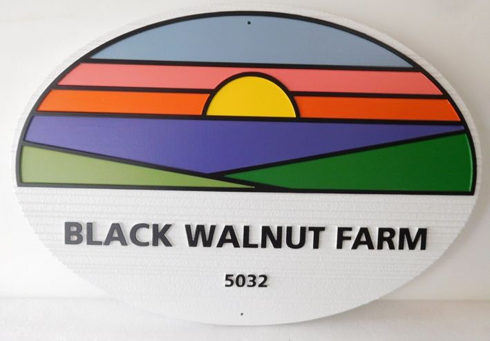 """O24728 -  Carved Entrance Sign for the """"Black Walnut Farm""""  with Sunset over Fields as Stylized  Artwork"""