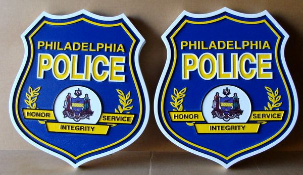 X33724 - Two 2.5-D Carved HDU Shield Wall Plaques for Philedelphia Police Deparment