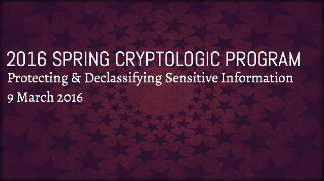 2016 Spring Cryptologic Program - NCMF