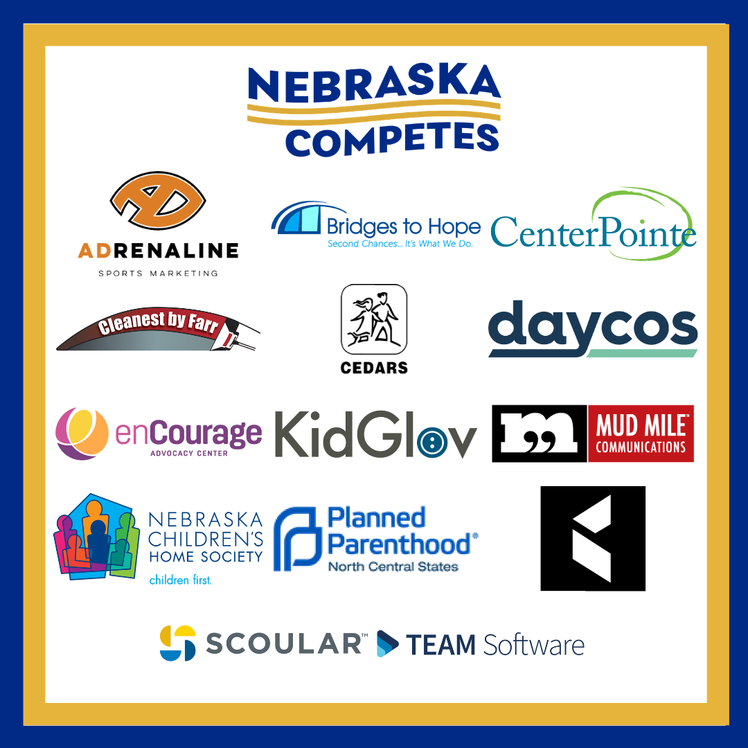 Collage of 14 logos from the newest Nebraska Competes members.