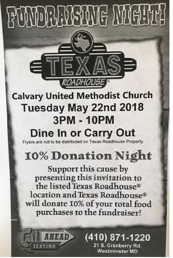 Texas Roadhouse Fundraiser May 22 3-10pm