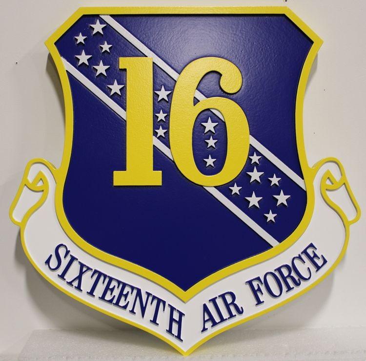 LP-1586 - Carved Shield Plaque of the Insignia of the SixteenthAir Force