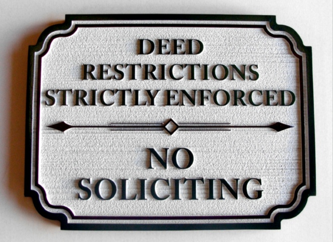KA20735 - No Soliciting & Deed Restrictions Wooden Sign