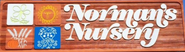 GA16494 - Carved Wood Sign for Plant Nursery with Carved Plaques Illustrating the Four Seasons