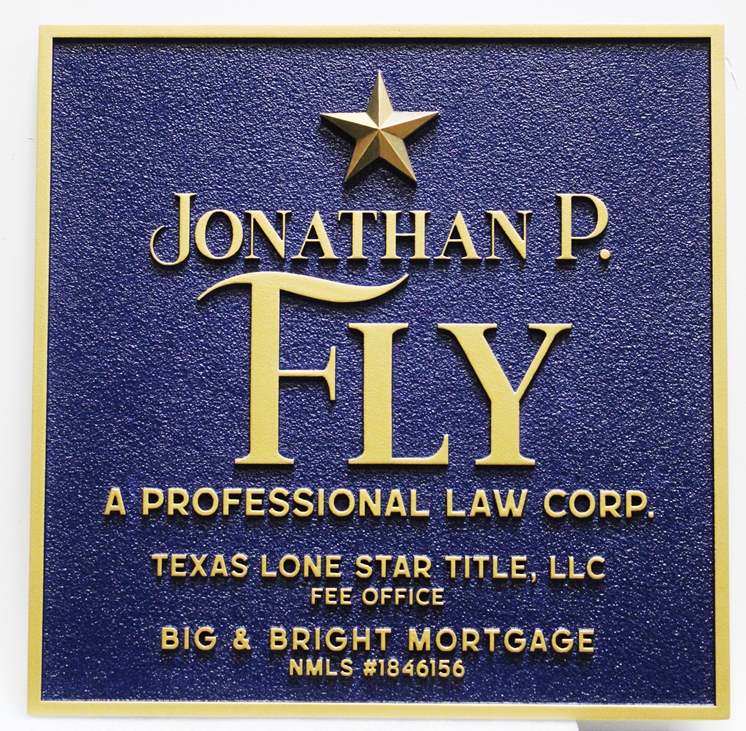 """A10695 - Carved and Sandblasted Sign for """"Jonathan P. Fly, A Professional Law Corporation"""""""
