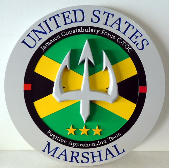 AP-2510 - Carved Plaque of the Seal for the US Marshal Service, Artist-Painted