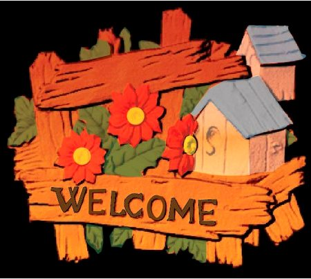 M22022 - Rustic Carved 3-D Welcome Sign with Cabins, Fence and Wildflowers