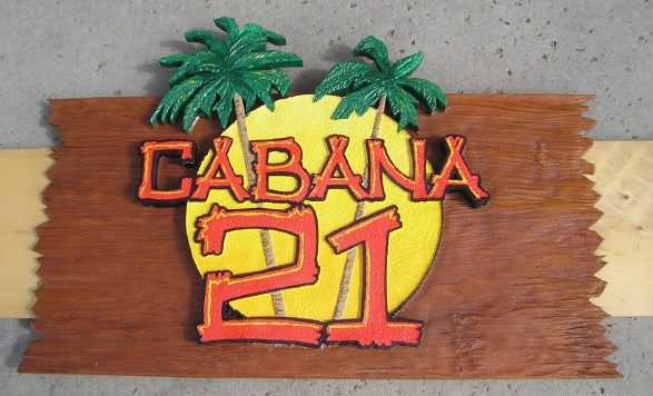 Q25148 - Rustic Carved Wood Sign for Cabana 21 Restaurant with Sun and 3-D Carved Palm Trees