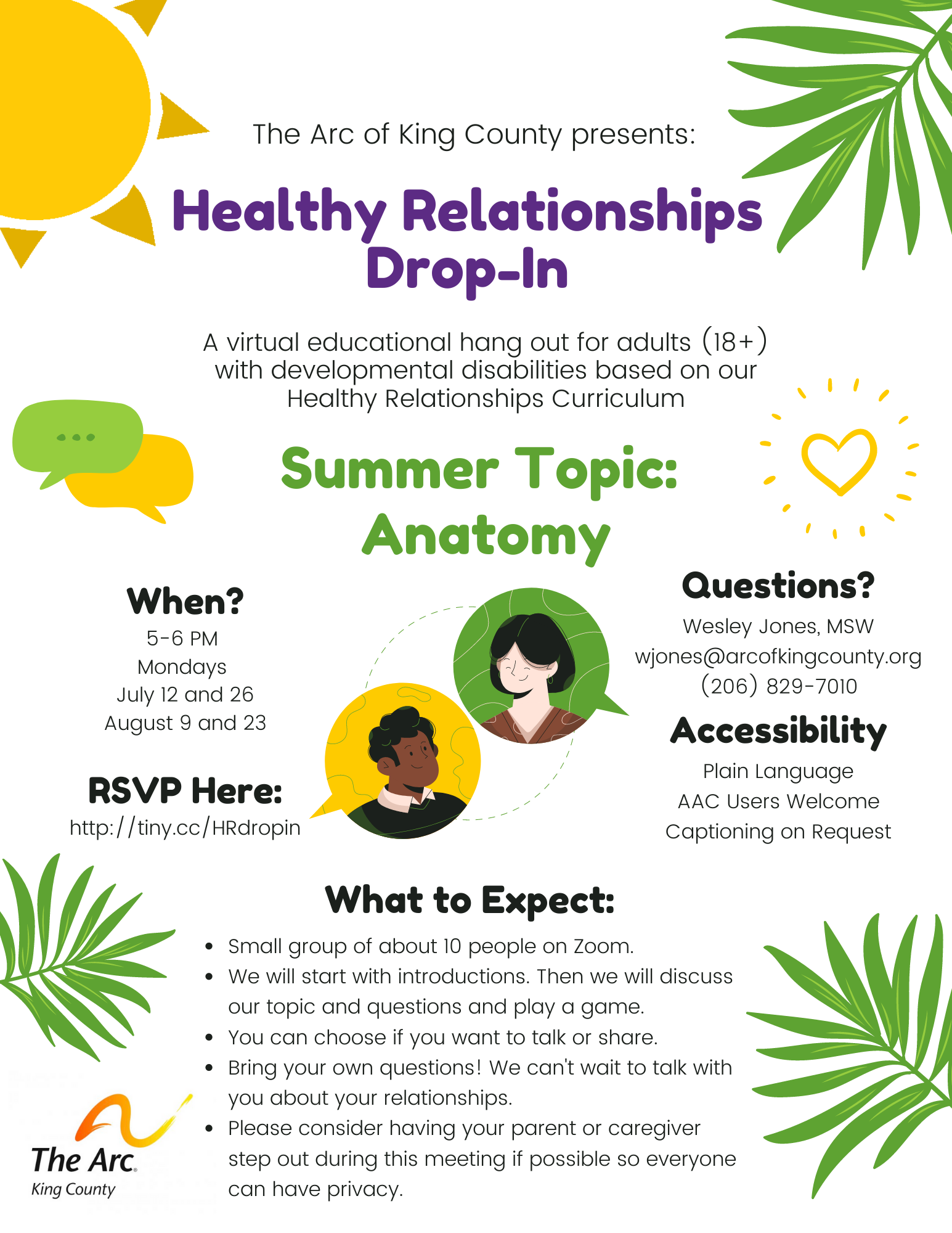 Healthy Relationships Drop-In Flyer