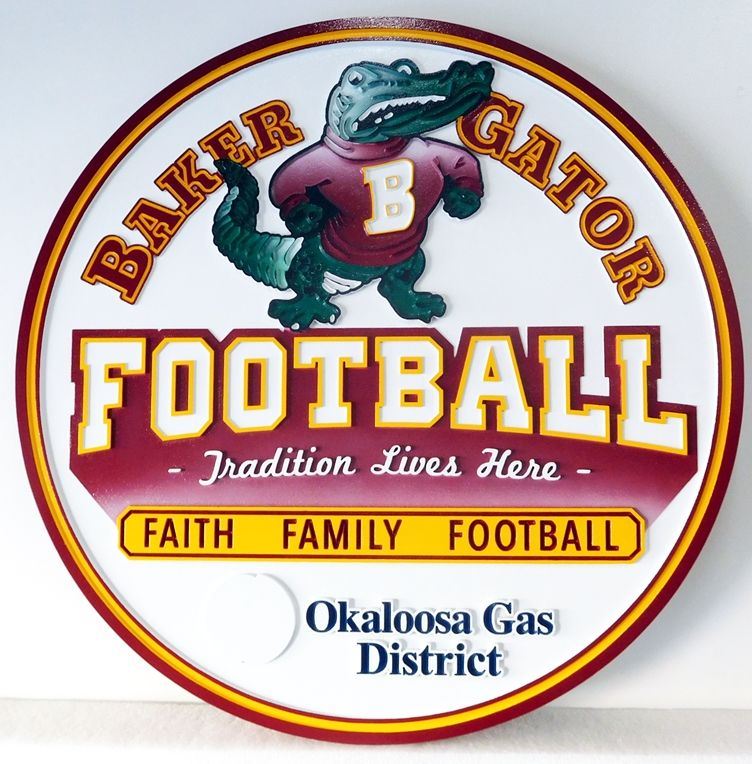 WP-1190 - Carved Wall Plaque of Logo for Baker Gator Football,  Artist Painted
