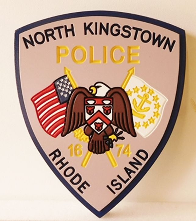 PP-2120 - Carved  Wall Plaque of the Shoulder Patch of the North Kingston Police, Rhode Island, Artist Painted
