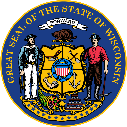 W32550 -  Seal of the State of Wisconsin Wall Plaque