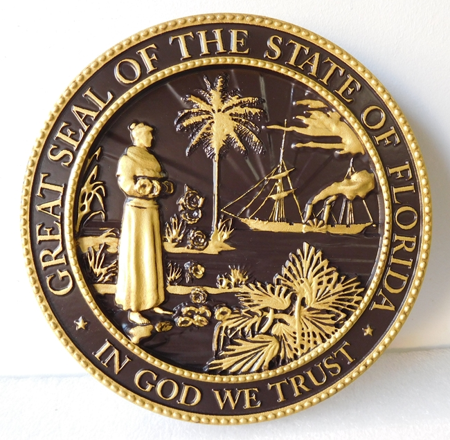 DG417 -  Carved Custom  Round Wall Plaque of the Great Seal of the State of Florida - $275