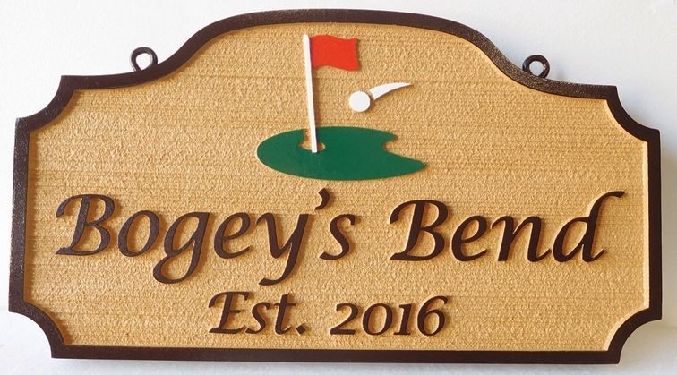 "E14789 - Carved HDU Sign with the Name of a Golfer Residence ""Bogey's Bend"", with a Golf Ball Landing on a Green as Artwork"