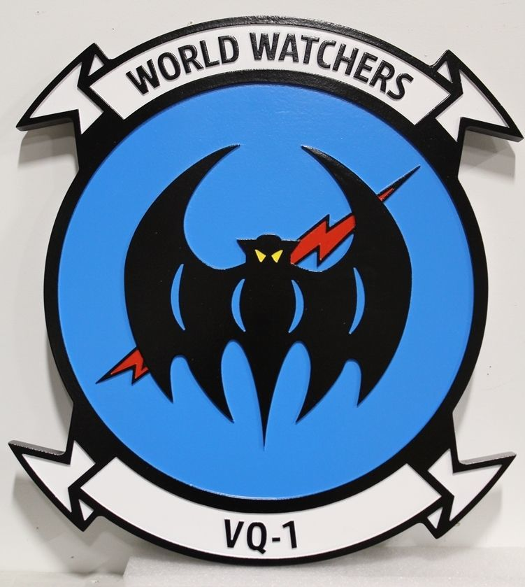 JP-1669 - Carved 2.5-D HDU Plaque of theCrest of the Navy's World Watchers, Fleet Air Reconnaissance Squadron  VQ-1