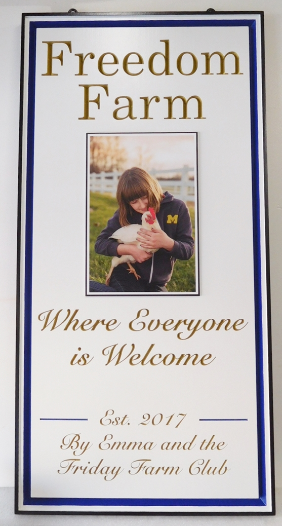 "O24463 - Entrance Sign to the ""Freedom Farm""  features a Giclée Digitally-Printed Photo of a Girl Holding a Chicken as Artwork"