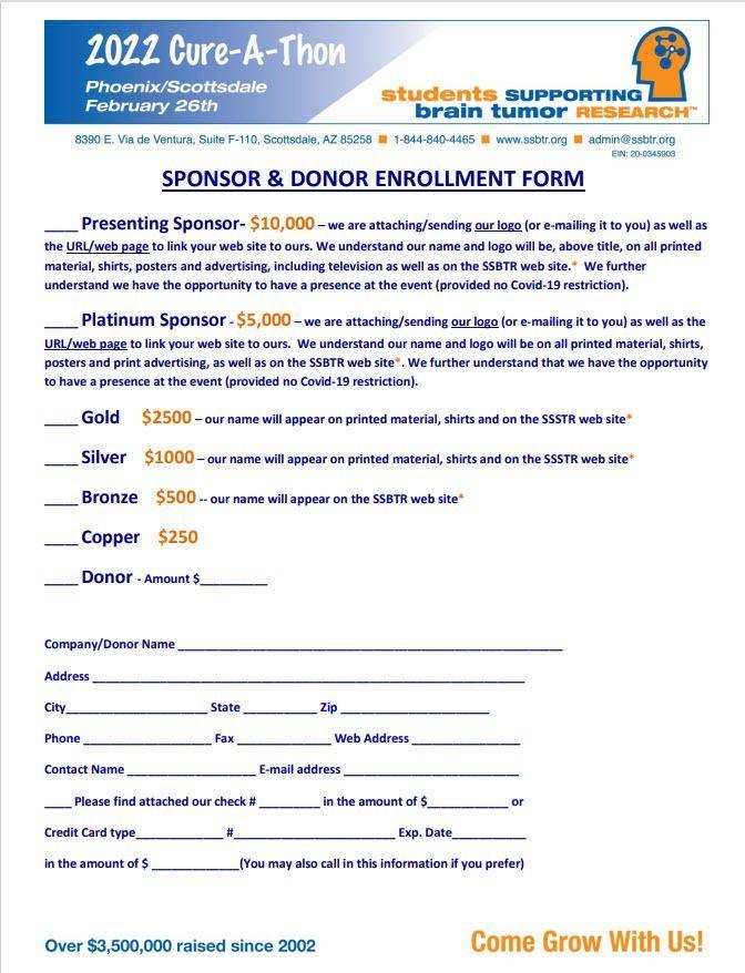 2022 Sponsorship Enrollment Form