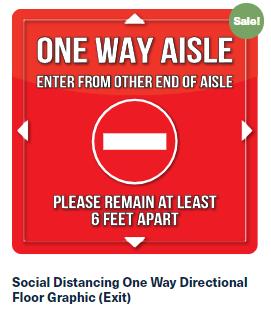 One Way Red Floor Graphic
