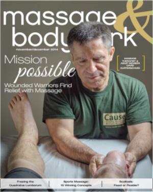 "Cause featured on the cover of Massage & Bodywork Magazine: ""Mission Possible: Wounded Warriors Find Relief with Massage"""