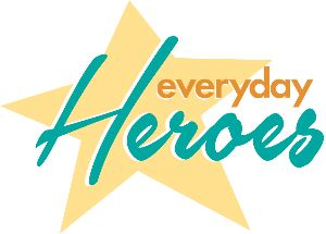 Everyday Hero word image with a star in background.