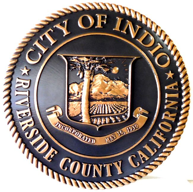 M7057 - Carved 3-D Bronze-plated Plaque of  the Seal of the City of Indio, California.