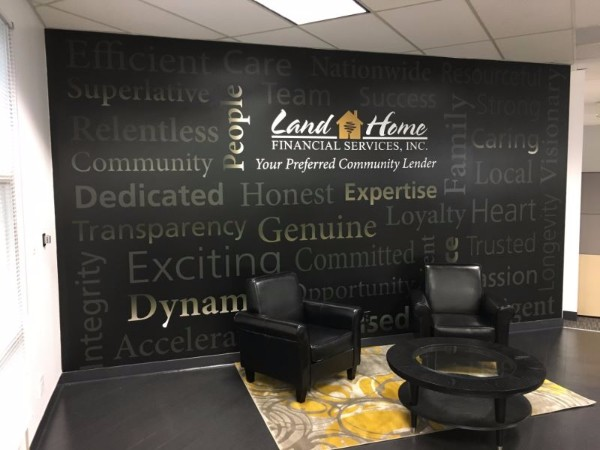 entry wall mural santa ana mortgage company office décor makes statement