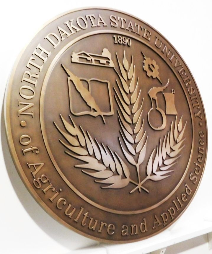X34464 - Carved 2.5-D Bronze-Plated HDU Plaque of the Seal of North Dakota State University